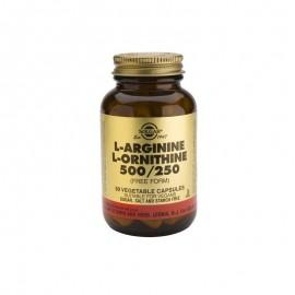 SOLGAR L-ARGININE- L-ORNITHINE 500/250MG 50VCAPS