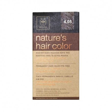 APIVITA NATURE'S HAIR COLOR 4.05 ΚΑΣΤΑΝΟ