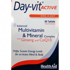 HEALTH AID DAY-VIT ACTIVE CO-Q-10 & GINSENG -BLISTER 30 TABS